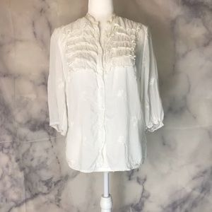 Johnny Was White Embroidered Button Down Shirt S